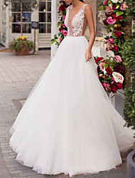 cheap -A-Line V Neck Sweep / Brush Train Lace / Tulle Regular Straps Made-To-Measure Wedding Dresses with Beading 2020