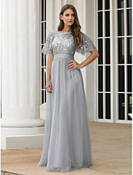 cheap -A-Line Jewel Neck Floor Length Chiffon / Tulle Elegant & Luxurious Formal Evening Dress with Embroidery 2020