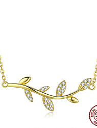 cheap -Women's Red AAA Cubic Zirconia Choker Necklace Classic life Tree Fashion S925 Sterling Silver Gold 45 cm Necklace Jewelry 1pc For Daily