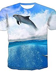 levne -Pánské Větší velikosti Barevné bloky 3D Malá mořská víla Tisk Tričko Základní Přehnaný Denní Jdeme ven Kulatý Světle modrá / Krátký rukáv / Zvíře