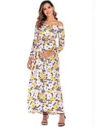 cheap -Women's Elegant A Line Dress - Floral Print Black Blushing Pink Blue S M L XL