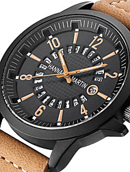 cheap -Men's Dress Watch Quartz Sporty Stylish PU Leather Black / Orange / Brown Calendar / date / day Analog Fashion Skeleton - Black Orange Brown One Year Battery Life / Stainless Steel