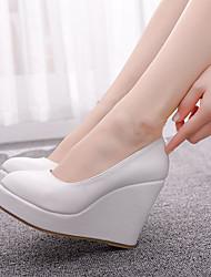 cheap -Women's Heels Wedge Heel Round Toe PU(Polyurethane) Vintage / Sweet Spring &  Fall / Spring & Summer White / Party & Evening