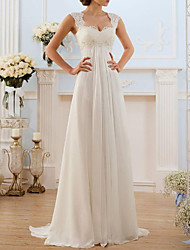 cheap -A-Line Sweetheart Neckline Sweep / Brush Train Chiffon / Lace Spaghetti Strap Simple / Vintage Illusion Detail / Backless Wedding Dresses with Lace Insert 2020