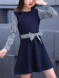 cheap -Kids Girls' Cute Street chic Striped Patchwork Patchwork Long Sleeve Dress Navy Blue