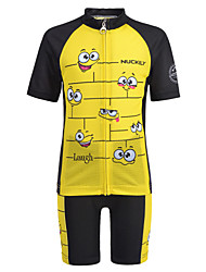 cheap -Nuckily Boys' Girls' Short Sleeve Cycling Jersey with Shorts - Kid's Black / Yellow Cartoon Bike Clothing Suit Breathable Moisture Wicking Quick Dry Anatomic Design Sports Spandex Cartoon Mountain