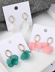 cheap -Women's Drop Earrings Earrings Stack Flower Petal Simple Korean Sweet Fashion Cute Earrings Jewelry Green / White / Pink For Party Anniversary Gift Daily Holiday 1 Pair