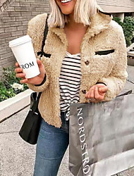 cheap -Women's Daily Regular Faux Fur Coat, Solid Colored Rolled collar Long Sleeve Faux Fur Wine / Gray / Khaki