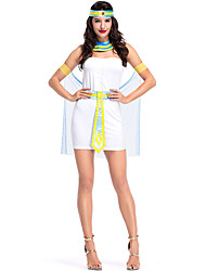 abordables -Déguisement Halloween Femme Princesse L'Egypte ancienne Halloween Halloween Tulle Blanche Costumes Carnaval