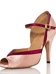 Недорогие -Жен. Танцевальная обувь Сатин Обувь для латины Планка На каблуках Тонкий высокий каблук Персонализируемая Розовый / Выступление