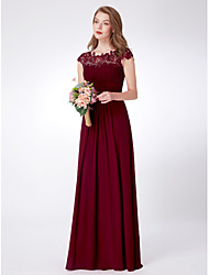 cheap -A-Line Empire Red Wedding Guest Prom Dress Scalloped Neckline Short Sleeve Floor Length Chiffon with Draping Lace Insert 2020