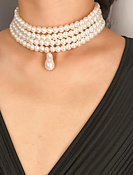 cheap -Women's Pearl Pendant Necklace Necklace Elegant Fashion Trendy Bridal Imitation Pearl White Oval Pearl 32 cm Necklace Jewelry 1pc For Wedding Gift Daily Holiday Festival / Layered Necklace