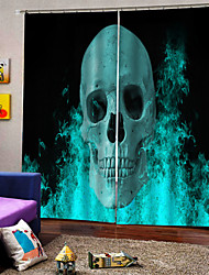 cheap -Hot Foreign Trade UV Digital Printing Curtains Halloween Theme Blue Skull Curtain Custom Ready Made