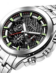 cheap -Men's Steel Band Watches Quartz Stainless Steel Black / Silver Calendar / date / day Analog Fashion - Black Silver
