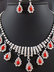 cheap -Women's Drop Earrings Choker Necklace Pendant Necklace Classic Pear Stylish Unique Design Silver Plated Earrings Jewelry Red For Wedding Party Holiday 1 set / Bridal Jewelry Sets