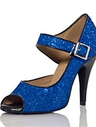 cheap -Women's Latin Shoes Heel Glitter Slim High Heel Blue Ankle Strap Sparkling Shoes / Performance