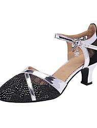 cheap -Women's Modern Shoes / Ballroom Shoes PU / Synthetics Heel Cuban Heel Customizable Dance Shoes Black / Silver / Performance