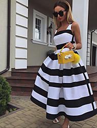 cheap -Women's White Dress Basic A Line Color Block Square Neck S M