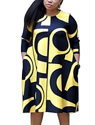 cheap -Women's Plus Size Purple Yellow Dress Street chic Sophisticated Shift Swing Plaid Letter XL XXL / Cotton
