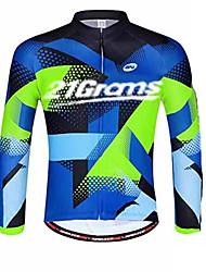 abordables -21Grams Homme Manches Longues Maillot Velo Cyclisme Hiver Toison 100 % Polyester Bleu marine Cyclisme Maillot Hauts / Top VTT Vélo tout terrain Vélo Route Résistant aux UV Respirable Evacuation de
