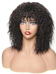 Недорогие -человеческие волосы Remy 13x6 Тип замка Парик Аккуратная челка стиль Бразильские волосы Кудрявый Черный Парик 130% 150% 180% Плотность волос