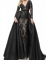 cheap -A-Line Plunging Neck Sweep / Brush Train Lace / Taffeta See Through Formal Evening Dress with Pleats 2020