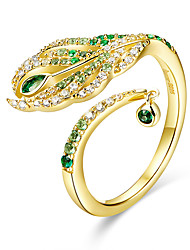 cheap -Feather of Peacock Queen Open Finger Rings Luxury 925 Sterling Silver Gold Color Wedding Statement Jewelry