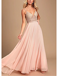 cheap -A-Line Spaghetti Strap Sweep / Brush Train Chiffon / Lace Empire / Pink Prom / Holiday Dress with Crystals / Split Front 2020