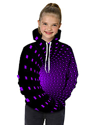 cheap -Kids Toddler Girls' Active Basic Rubik's Cube Geometric Galaxy Print Print Long Sleeve Hoodie & Sweatshirt Black