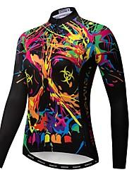 cheap -21Grams Sugar Skull Women's Long Sleeve Cycling Jersey - Rough Black Bike Jersey Top UV Resistant Breathable Moisture Wicking Sports Winter Fleece Polyester Elastane Mountain Bike MTB Road Bike