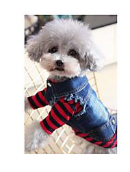 cheap -Dog Hoodie Denim Jacket / Jeans Jacket Winter Dog Clothes Blue Costume Denim Jeans Cowboy Fashion XS S M L XL XXL