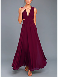 cheap -A-Line Elegant Formal Evening Dress Plunging Neck Sleeveless Floor Length Chiffon with Pleats 2021