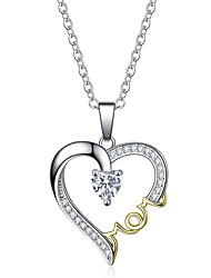 cheap -Women's Pendant Necklace Heart Letter Sweet Elegant Zircon Chrome Gold Silver 45 cm Necklace Jewelry 1pc For Gift