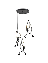 cheap -3-Light Modern Simple 3 Lights Pendant Light Ceiling Lamps Cluster Chandelier Ambient Light Painted Finishes Metal Pendant Lighting for Dining Room Kitchen Island Black