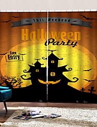 Недорогие -роскошные 3d цифровая печать шторы счастливый хэллоуин замок фон занавес затемнение теплоизоляция отверстие бесплатная установка занавес