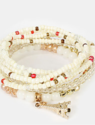 cheap -4pcs Women's Black Red White Bead Bracelet Vintage Bracelet Earrings / Bracelet Layered Weave Vintage Ethnic Fashion Boho French Glass Bracelet Jewelry Black / White / Red For Daily