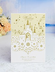 """cheap -Wrap & Pocket Wedding Invitations 30pcs - Invitation Cards / Invitation Sample / Engagement Party Cards Artistic Style / Fairytale Theme / Bride & Groom Style Pearl Paper 5""""×7 ¼"""" (12.7*18.4cm)"""