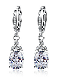 cheap -New Authentic White & Blue Crystal Anti-allergic Environmentally Fashion Copper Zircon Jewelry Drop Earring