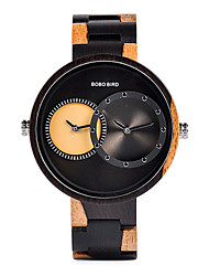 cheap -Couple's Dress Watch Japanese Japanese Quartz Stylish Wood Black / Red 30 m Calendar / date / day Wooden Analog Fashion - Dark Red Black / Blue Black / Brown Two Years Battery Life