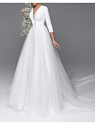 cheap -A-Line V Neck Court Train Satin / Tulle 3/4 Length Sleeve Made-To-Measure Wedding Dresses with Buttons 2020
