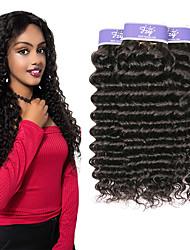 abordables -Lot de 3 Cheveux Indiens Bouclé profond Cheveux Naturel Rémy Paquets de 100% Remy Hair Weave Tissages de cheveux humains Extension Bundle cheveux 8-28 pouce Naturel Tissages de cheveux humains