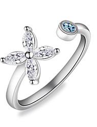 cheap -Women's Ring Open Ring 1pc Silver Copper Circular Basic Korean Fashion Festival Jewelry Flower Butterfly Flower Shape Lovely