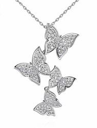 cheap -Women's Clear Cubic Zirconia Pendant Necklace Geometrical Butterfly Elegant Gold Plated S925 Sterling Silver Gold Silver 40+5 cm Necklace Jewelry 1pc For Daily Work