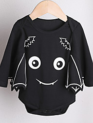 cheap -Baby Girls' Basic Print / Halloween Long Sleeve Cotton Bodysuit Black / Toddler