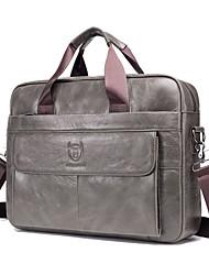 cheap -Men's Bags PU Leather Cowhide Shoulder Messenger Bag Laptop Bag Briefcase Belt Zipper Solid Color Handbags Office & Career Black Gray