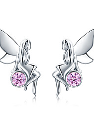 cheap -New Trendy 100% 925 Sterling Silver Flower Fairy Pink CZ Stud Earrings for Women Sterling Silver Jewelry Gift SCE395