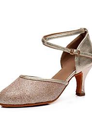 cheap -Women's Modern Shoes Synthetics Cross Strap Heel Slim High Heel Customizable Dance Shoes Gold / Silver