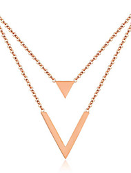 cheap -Women's Chain Necklace Handmade Joy Simple Fashion Elegant Stainless Steel Rose Gold 41 cm Necklace Jewelry 1pc For Carnival Work Festival