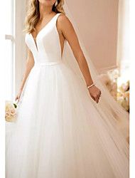 cheap -A-Line V Neck Sweep / Brush Train Satin / Tulle Regular Straps Simple Backless / Elegant Wedding Dresses with Draping 2020