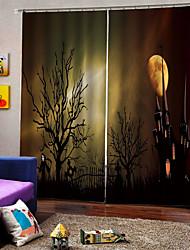 Недорогие -новая уф печать лунный свет замок дьявола фон шторы 100% полиэстер плотные шторы с крючками